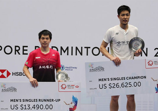 Chou Tien Chen and Hsu Jen-hao take the gold and silver at Singapore Open. (photo: AFP)