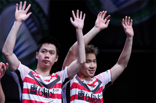 Marcus Fernaldi Gideon/Kevin Sanjaya Sukamuljo hoping to put up a good show in front of home crowd at the 2018 Asian Games. (photo: AFP)
