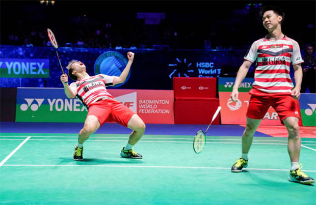Marcus Gideon/Kevin Sukamuljo would be the key to Indonesia's victory against China in the Asian Games badminton men's team final. (photo: AFP)