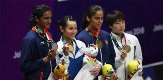PV Sindhu, Tai Tzu Ying, Saina Nehwal, Akane Yamaguchi (from left). (photo: AFP)