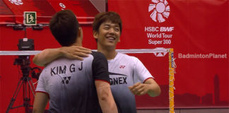 Lee Yong Dae (right) and Kim Gi Jung celebrate after winning the 2018 Barcelona Spain Masters.