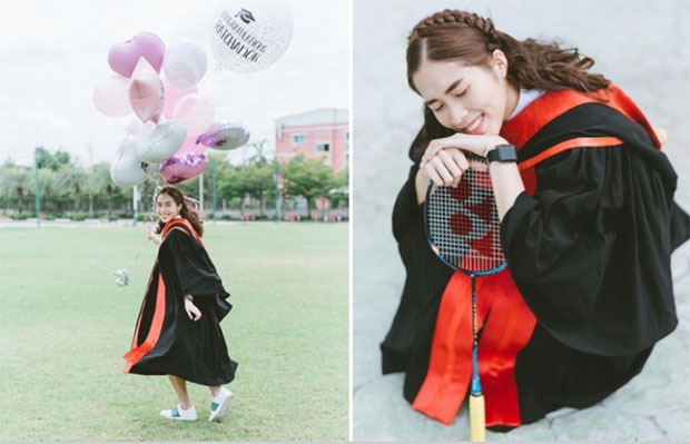 Ratchanok Intanon earns bachelor degree from Bangkokthonburi University. (photo: Ratchanok Intanon's FB)