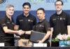 Syed Saddiq (second left) and Mohamad Norza Zakaria (third left) attend the Under-15 Badminton Championship. (photo: Bernama)