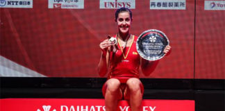 Carolina Marin wins the 2018 Japan Open title. (photo: AFP)