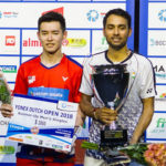Cheam June Wei (L) poses for picture with Sourabh Verma. (photo: Dutch Open)