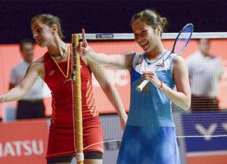 Ratchanok Intanon celebrates her 2019 Malaysia Masters victory against Carolina Marin. (photo: Xinhua/Chong Voon Chung)