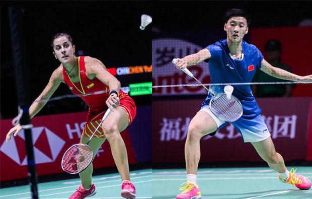 Chen Yufei (R) finally earns a win against Olympic Champion Carolina Marin. (photo: AFP)