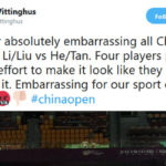 "HK Vittinghus was unhappy when Li Junhui/Liu Yuchen tried ""very hard"" to lose to He Jiting/Tan Qiang in the China Open quarter-final. (photo: HK Vittinghus' Twitter)"
