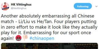 """HK Vittinghus was unhappy when Li Junhui/Liu Yuchen tried """"very hard"""" to lose to He Jiting/Tan Qiang in the China Open quarter-final. (photo: HK Vittinghus' Twitter)"""