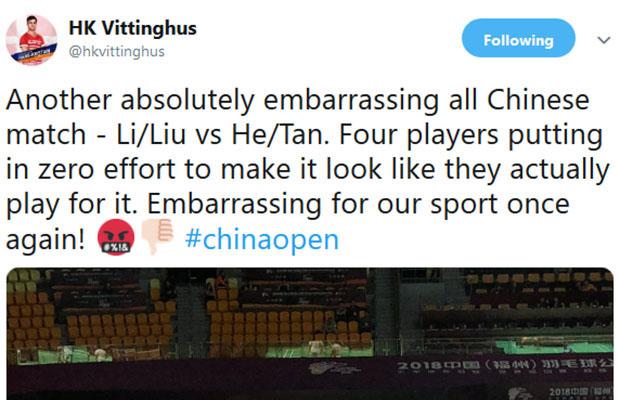 HK Vittinghus was unhappy when Li Junhui/Liu Yuchen tried