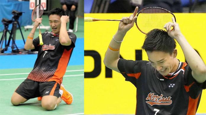 Kento Momota drops to his knees as he celebrates victory over Kenta Nishimoto in the Japan national championship final. (photo: Kyodo)