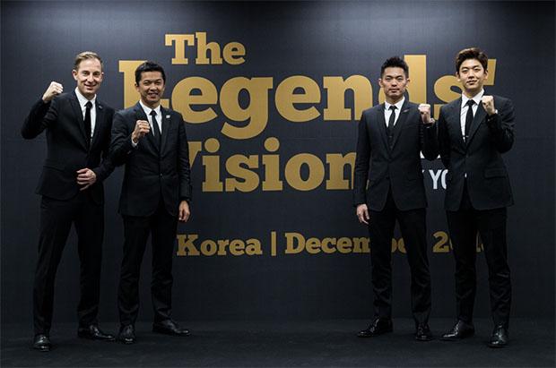 The Legends' Vision in Korea - Peter Gade, Taufik Hidayat, Lin Dan, Lee Yong-Dae (from Left). (photo: Yonex)