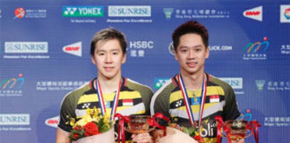 Kevin Sanjaya Sukamuljo/Marcus Fernaldi Gideon eye the BWF World Tour title. (photo: AFP)