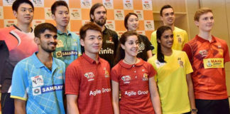 Kidambi Srikanth, Tan Wee Kiong, Carolina Marin, P V Sindhu, Viktor Axelsen are the big names playing in 2018/2019 Premier Badminton League (front row, from left). (photo: PTI)