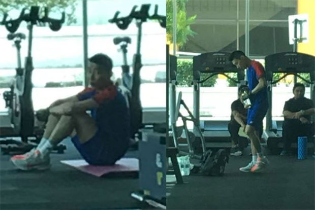 Lee Chong Wei trains at Academy Badminton Malaysia. (photo: Bernama)