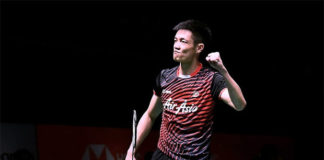 Daren Liew is pumped up after taming Shi Yuqi in Malaysia Masters quarter-final. (photo: Bernama)