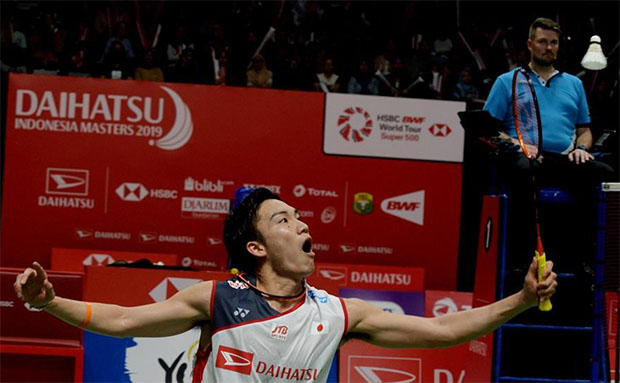 Kento Momota looks for his first title of 2019 at the Indonesia Masters. (photo: Xinhua)