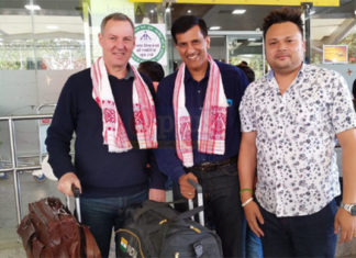 Morten Frost (L) and former Chief National Coach of India, Vimal Kumar (second from left) arrive in Guwahati to scout for young badminton talent. (photo: gplus)