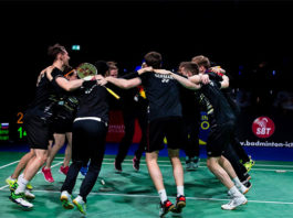 Germany's team members celebrate their 2019 European Mixed Team Badminton Championships semi-final win against Russia. (photo: Badminton Europe)