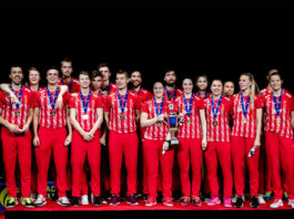 Denmark win their 17th European Mixed Team Championships title on Sunday. (photo: Badminton Europe/Koen Mutton)