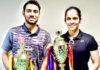Sourabh Verma (L) and Saina Nehwal win the India national championships last Saturday. (photo: BAI)