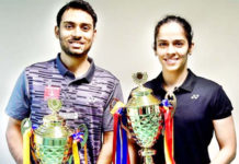 Sourabh Verma (L) and Saina Nehwal win the India national championships last Saturday. (photo: BAI)