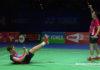 Aaron Chia/Soh Wooi Yik celebrate after beating the 2017 World Champions Liu Cheng/Zhang Nan in 2019 All England quarter-finals.