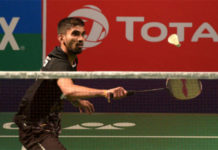 Kidambi Srikanth makes strong comeback to beat Vincent Wong Wing Ki in India Open first round. (photo: Mohd Zakir/Hindustan Times/Getty Images)