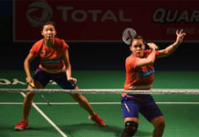 Chow Mei Kuan/Lee Meng Yean one win away from clinching the India Open. (photo: Money Sharma/Afp/Getty Images)