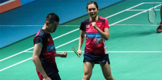 Tan Kian Meng/Lai Pei Jing celebrate their Malaysia Open quarter-final win against Tontowi Ahmad/Winny Oktavina Kandow. (photo: BAM)
