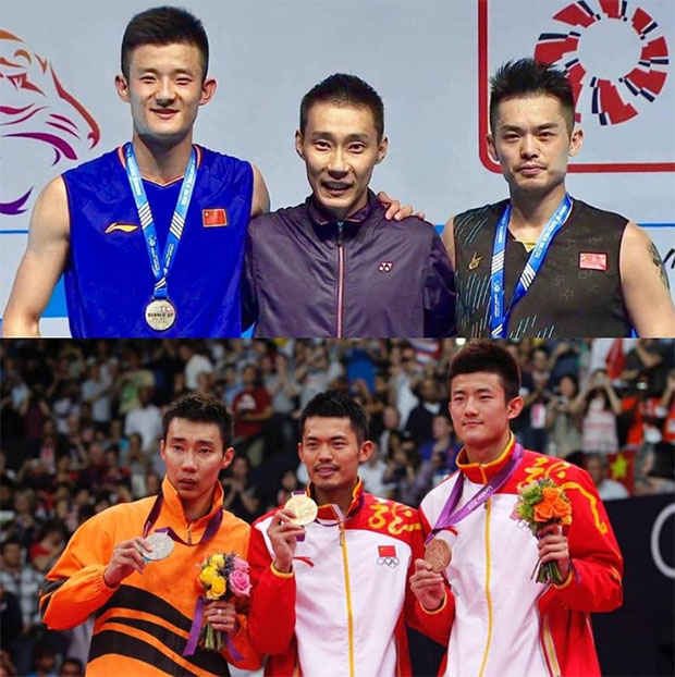 '7 Year Challenge' for Lee Chong Wei, Lin Dan, and Chen Long. (photo: Lee Chong Wei's Facebook)
