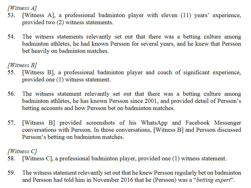 """According to TV 2 Sport, Alistair Casey is """"Witness B"""" mentioned in the BWF document. (photo: screenshot from BWF's Ethics Hearing Panel Decision)"""