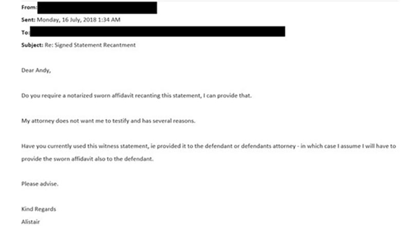 Alistair Casey's email to BWF asking to withdraw his testimony against Joachim Persson. (photo: TV2)