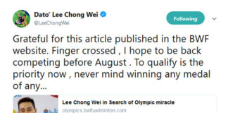 Lee Chong Wei's stories are so inspirational that all badminton fans should cheer for him to reach the 2020 Tokyo Olympics. (photo: Lee Chong Wei's Twitter)