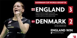 England shock Denmark 3-2 at Sudirman Cup on Monday. (photo: Badminton England)