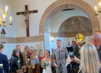 Mads Pieler Kolding marries girlfriend in a church. (photo: Mads Pieler Kolding's Instagram)