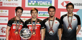 World No. 1 Kevin Sanjaya Sukamuljo/Marcus Fernaldi Gideon and World No. 2 Mohammad Ahsan/Hendra Setiawan could face each other in the World Championships semi-final. (photo: Matt Roberts/Getty Images)