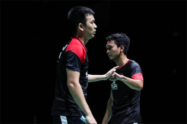 Mohammad Ahsan/Hendra Setiawan are one win away from their third world championships as a pair. (photo: Shi Tang/Getty Images)