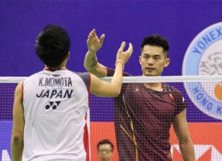 Current badminton legend Lin Dan meets future badminton legend Kento Momota in 2019 China Open first round. (photo: Badmintonhongkong)