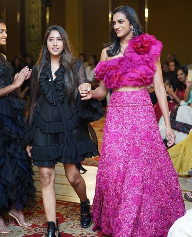 PV Sindhu walks the ramp for designer Shriya Bhupal in Hyderabad. (photo: IAN)