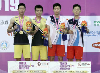 Goh V Shem/Tan Wee Kiong win their second title of year at the 2019 Chinese Taipei Open. (photo: EPA)