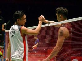 Lin Dan to battle Kento Momota (L) in the China Open first round. (photo: Asahi Shimbun via Getty Images)