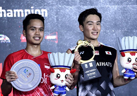Kento Momota wins the 2019 China Open title. (photo: Xinhua)