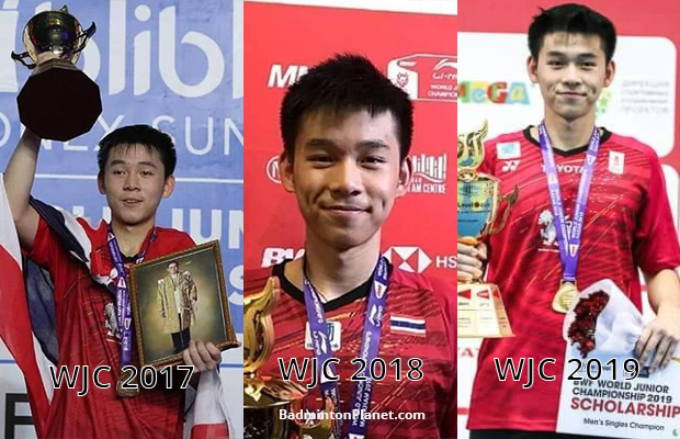 Kunlavut Vitidsarn creates history by winning his third consecutive world junior boys' singles title.