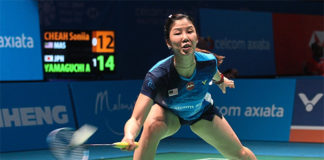 Soniia Cheah upsets Akane Yamaguchi in Fuzhou. (photo: AFP)