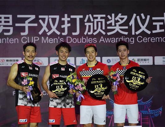 Marcus Fernaldi Gideon/Kevin Sanjaya Sukamuljo are one win away to tie Gao Ling of China to become the doubles players with the most wins in a season. (photo: Xinhua)