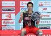 Kento Momota plays his Japan national championship first round match on Wednesday. (photo: Xinhua)