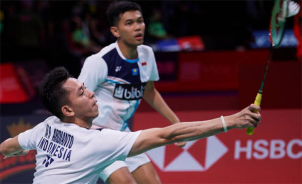 Fajar Alfian/Muhammad Rian Ardianto miss a chance to win gold at the 2019 SEA Games gold. (photo: Lars Ronbog/ FrontZoneSport via Getty Images)