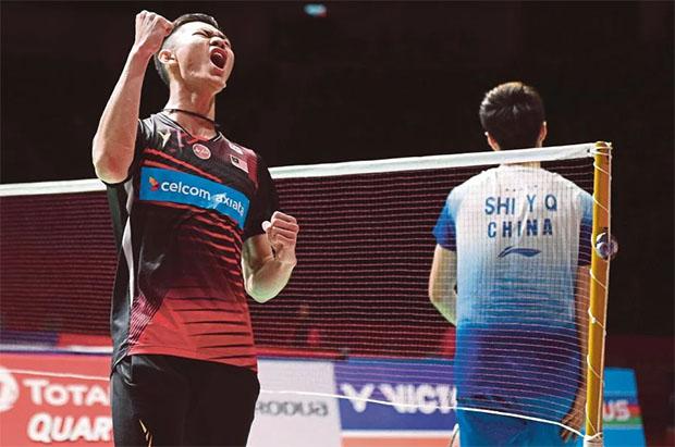 Lee Zii Jia roars past Shi Yuqi in Malaysia Masters quarter-finals. (photo: AFP)