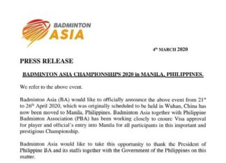 Manila replaces Wuhan as host city for 2020 Asia Championships. (photo: Badminton Asia)